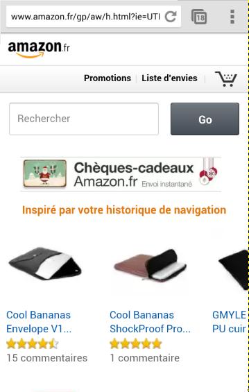 Amazon sur smartphone