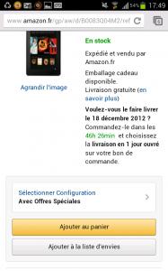 fiche produit du site mobile Amazon